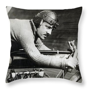 In The Wind On An Indian Motorcycle - 1913 Throw Pillow by Daniel Hagerman