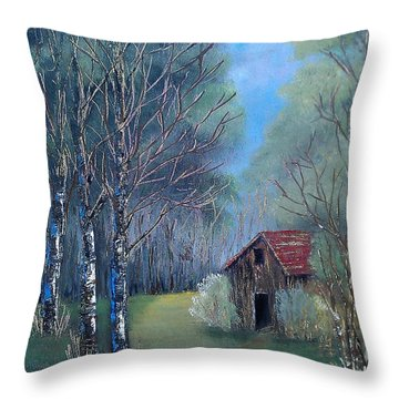 Throw Pillow featuring the painting In The Woods by Suzanne Theis