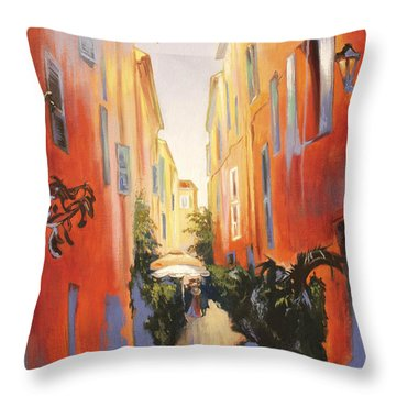 In Town Of Saint Tropez Throw Pillow