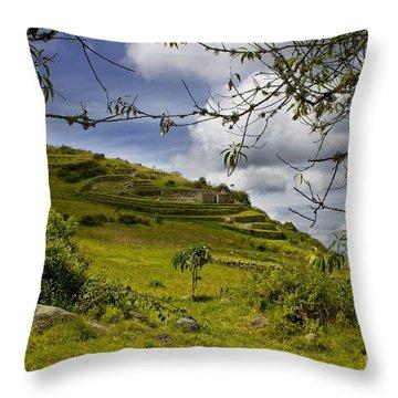 Inca Ruins On Mount Cojitambo In Ecuador Throw Pillow by Al Bourassa