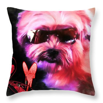 Throw Pillow featuring the digital art Incognito Innocence by Kathy Tarochione