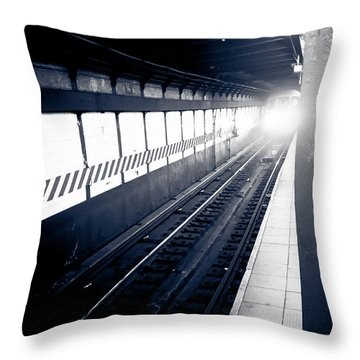 Throw Pillow featuring the photograph Incoming At The Subway - New York City by Peta Thames