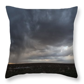 Incoming Storm Over A Cotton Field Throw Pillow