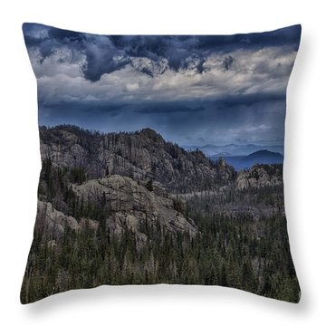 Incoming Storm Over The Black Hills Of South Dakota Throw Pillow