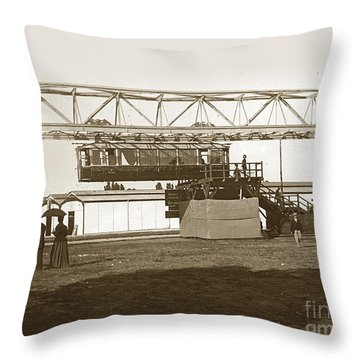 Throw Pillow featuring the photograph Incredible Hanging Railway  1900 by California Views Mr Pat Hathaway Archives