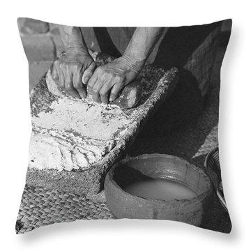 Indains Making Corn Flour Throw Pillow
