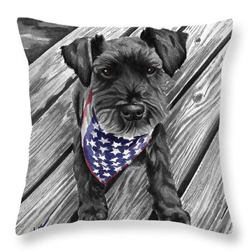 Watercolor Schnauzer Black Dog Throw Pillow