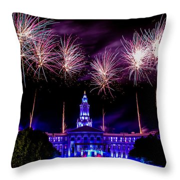 Independence Eve In Denver Colorado Throw Pillow by Teri Virbickis