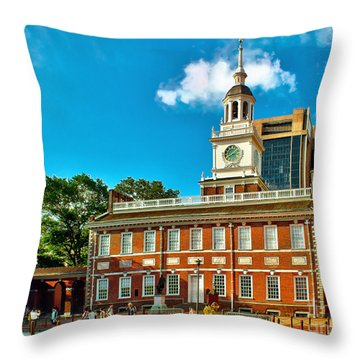 Independence Hall Throw Pillow by Nick Zelinsky