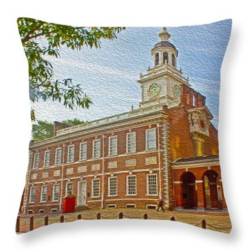 Independence Hall Philadelphia  Throw Pillow by Tom Gari Gallery-Three-Photography