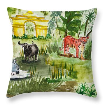 India Friends Throw Pillow