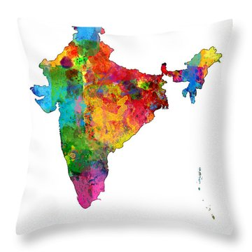 India Watercolor Map Throw Pillow by Michael Tompsett