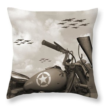 Indian 841 And The B-17 Panoramic Sepia Throw Pillow