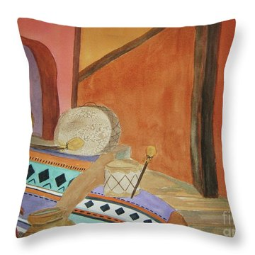 Throw Pillow featuring the painting Indian Blankets Jars And Drums by Ellen Levinson