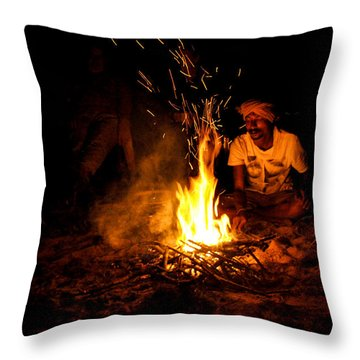 Indian Chef Cooking On Fire.  Throw Pillow by Diane Lent