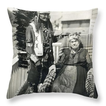 Throw Pillow featuring the photograph Indian Chief And Woman by Charles Beeler