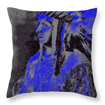 Indian Chief Throw Pillow by George Pedro