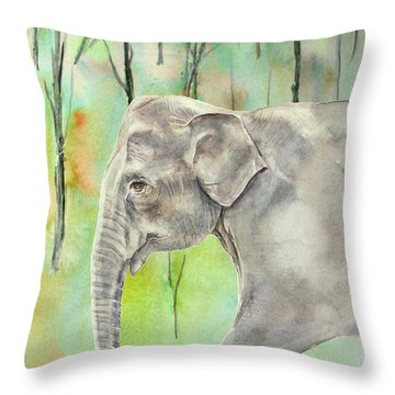 Throw Pillow featuring the painting Indian Elephant by Elizabeth Lock