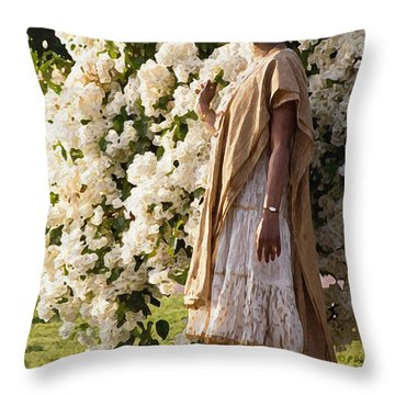 Indian Girl By The Flowery Tree Throw Pillow by Dominique Amendola