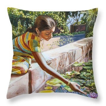 Indian Girl Near The Waterlilies  Throw Pillow