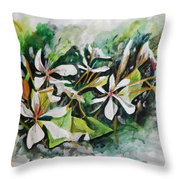 Throw Pillow featuring the painting New Orleans Indian Hawthorne by Michael Hoard