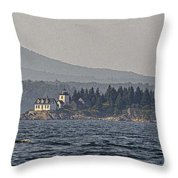 Throw Pillow featuring the photograph Indian Island Lighthouse - Rockport - Maine by Marty Saccone