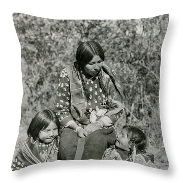 Throw Pillow featuring the photograph Indian Mother With Daughters by Charles Beeler