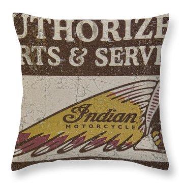 Indian Motorcycle Sign Throw Pillow