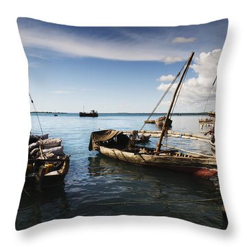 Indian Ocean Dhow At Stone Town Port Throw Pillow by Amyn Nasser