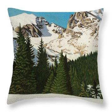 Indian Peaks Winter Throw Pillow