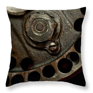Indian Racer Crankshaft Fly Wheel Throw Pillow by Wilma  Birdwell