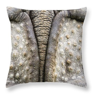 Indian Rhinoceros Tail Throw Pillow by Konrad Wothe