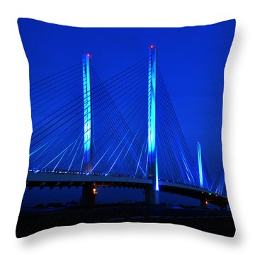 Indian River Bridge At Night Throw Pillow