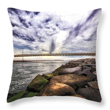 Indian River Bridge Clouds Throw Pillow