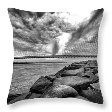 Indian River Bridge Clouds Black And White Throw Pillow