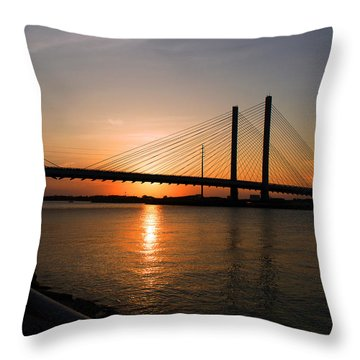 Indian River Bridge Sunset Reflections Throw Pillow