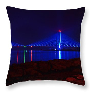 Indian River Inlet Bridge After Dark Throw Pillow