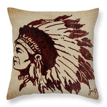 Indian Wise Chief Coffee Painting Throw Pillow by Georgeta  Blanaru