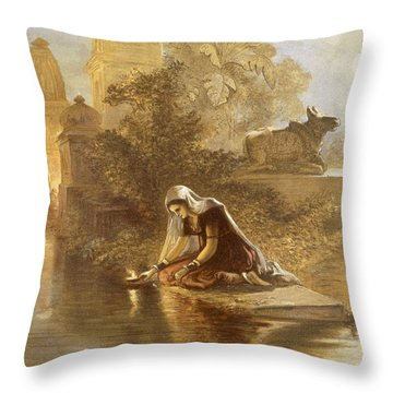 Indian Woman Floating Lamps Throw Pillow by William 'Crimea' Simpson