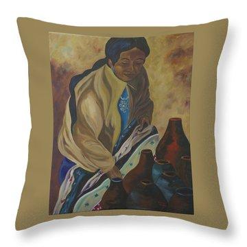 Indian Woman Potter Throw Pillow