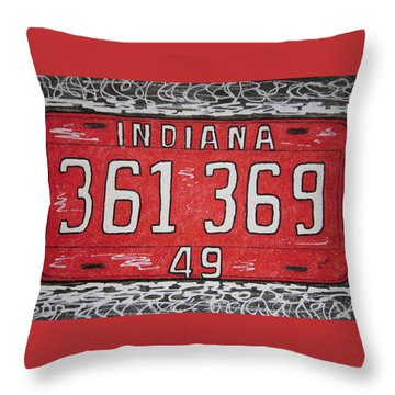 Indiana 1949 License Platee Throw Pillow by Kathy Marrs Chandler