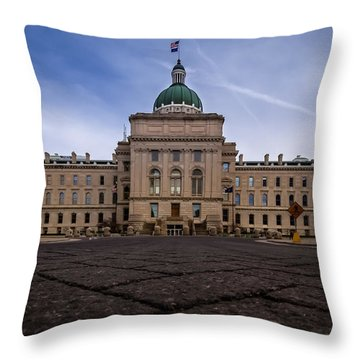 Indiana Capital Building - Back Throw Pillow