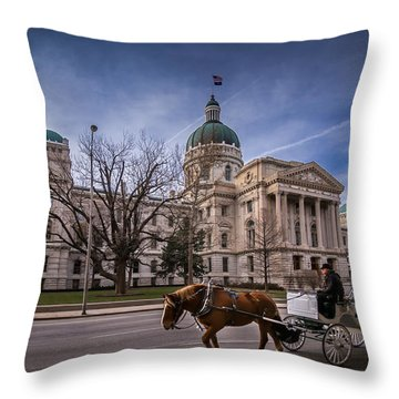 Indiana Capital Building - Front With Horse Passing Throw Pillow