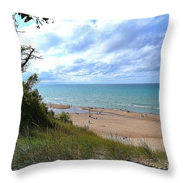 Indiana Dunes Beachscape Throw Pillow