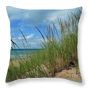 Indiana Dunes Sea Oats Throw Pillow