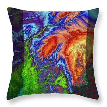 Indiana Map Art Throw Pillow by Paul Hein