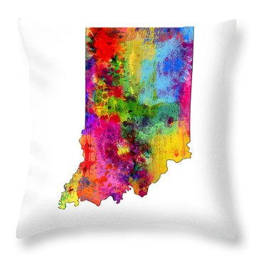 Indiana Map Throw Pillow
