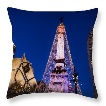 Indiana - Monument Circle With Lights And Horse Throw Pillow