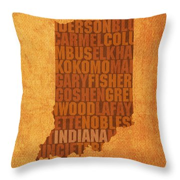 Indiana State Word Art On Canvas Throw Pillow by Design Turnpike