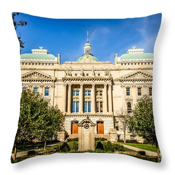 Indiana Statehouse State Capital Building Picture Throw Pillow by Paul Velgos